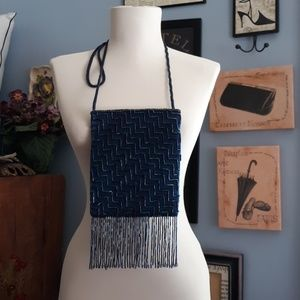 Fancy blue beaded shoulder bag
